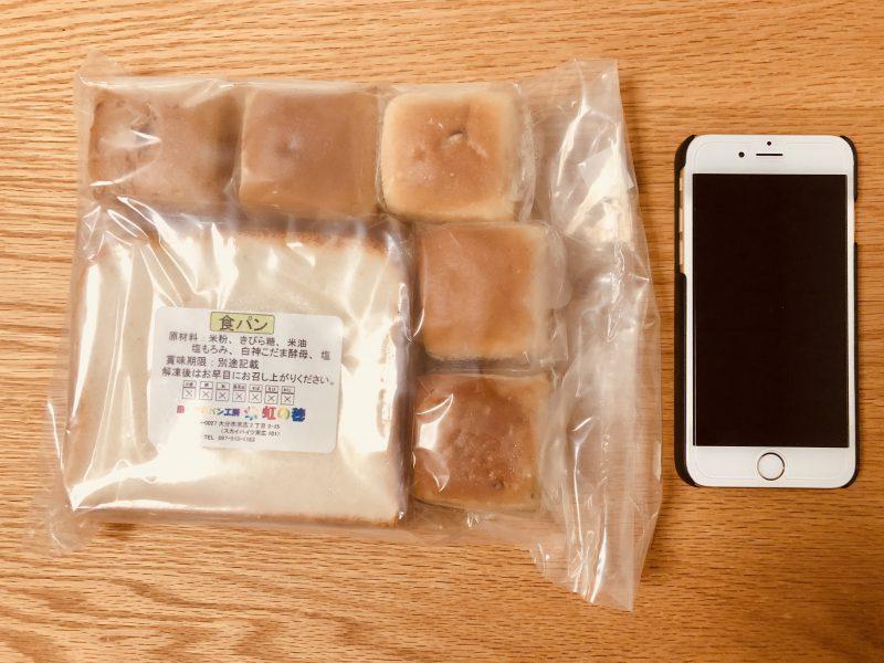 米粉パン(食パン・プチパン)とiPhone6サイズ比較